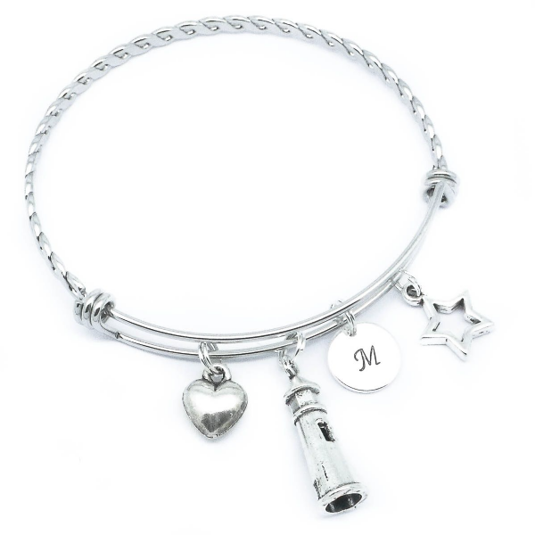 Lighthouse Heart Star Initial Charm Bracelet